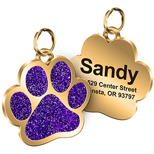 Personalized Engrave Pet ID Tags Paw Shape Custom Glitter Pet Supplies Engrave Name Number Elegant Plated Unique Gift for Cats Little Dogs (Purple)