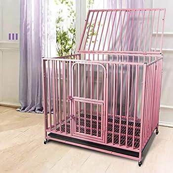 Chenils Cage intérieure Chien métal Pliable Moyen Chien Crate avec Cage for Animaux de Golden Retriever Toilettes Labrador clôture Chien (Color : Black, Size : 91.5 * 58.5 * 85.5CM)