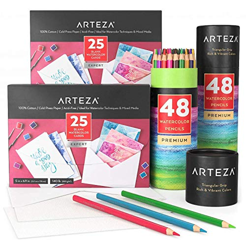 Arteza Watercolor Cards Painting Bundle, Drawing Art Supplies for Artist, Hobby Painters & Beginners