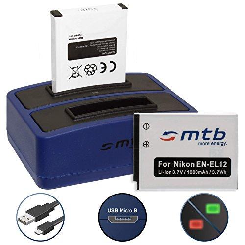 2 Baterías + Cargador Doble (USB) EN-EL12 para Nikon Coolpix A900, S640, S8100, S9700,...