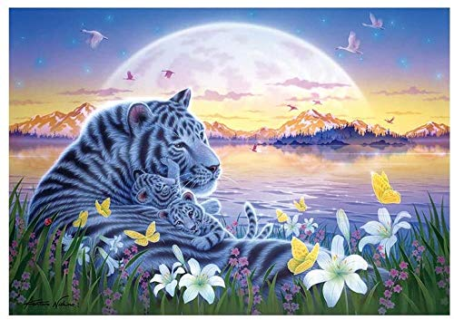 XiuTaiLtd Paradise of White Tiger Peace 1000 Piece Jigsaw Puzzle, for Friends