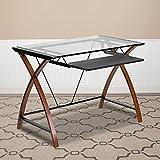Flash Furniture Computertisch – Computer Glastisch mit herausziehbarer Tastaturablage und Kreuz-Rahmen – Schreibtisch zum Arbeiten mit Kirschholz-Optik