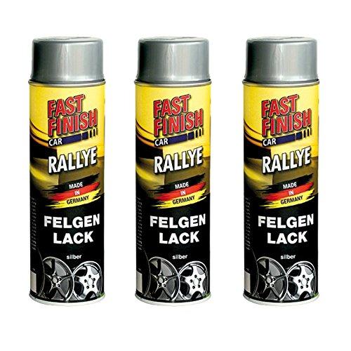 3x 500ml FAST FINISH RALLYE FELGENLACK FELGENSPRAY FELGENSILBER SILBER LACKSPRAY