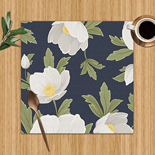 Bag hat Hellebore Anemone Christmas Winter Rose Floral Nature Table Placemats for Dining Table,Washable Table Mats Heat-Resistant(12X12 Inch) Set of 6