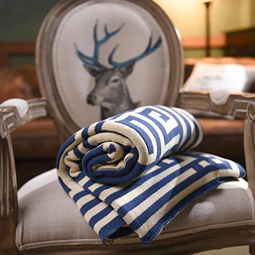 N\A Mantas para Sofa, Manta de Adultos Manta/Sofá de otoño COBERTOR 130x150cm 1pc 100% algodón Manta de Punto Manta con Mangas (Color : Blue, Size : 130x150cm)