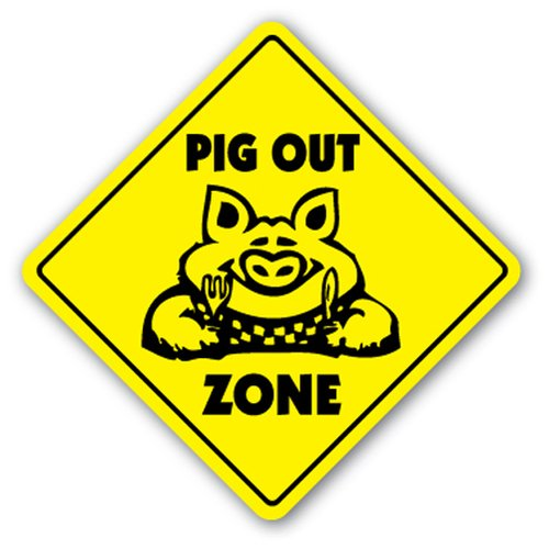 [SignJoker] PIG OUT ZONE Sign bbq barbeque pork sauce smoker hot Wall Plaque Decoration