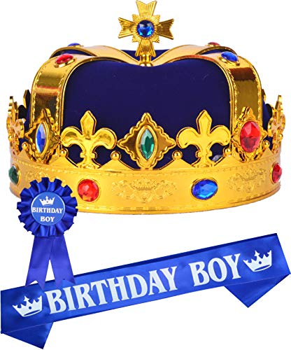 Birthday King Crown and Sash for Boy, Birthday Boy Prince Crown Sash and Pin for Boy, It's My Birthday King Crown Kids, Birthday Boy Gifts, Birthday Crown King Birthday Party Decoration, Birthday Boy