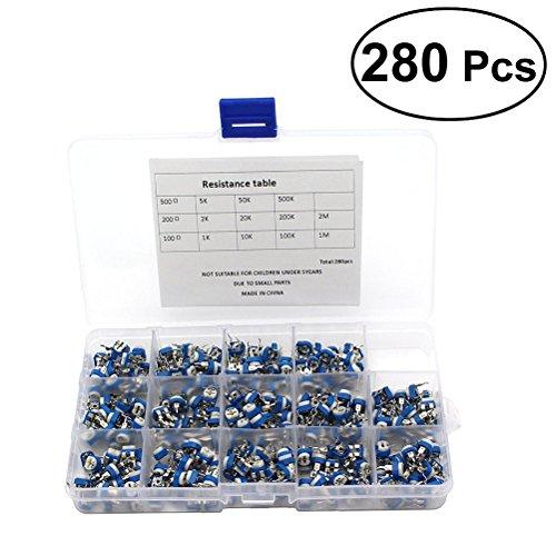 BESTOMZ 280Pcs 14 Wert Widerstand, Variable Potentiometer mit Aufbewahrungsbox