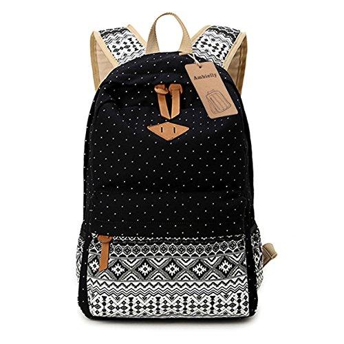 Ambielly Stile Scuola Zaini addensato Tela Borsa del portatile spalle Daypack scuola dello zaino borsa causale (Nero-3)