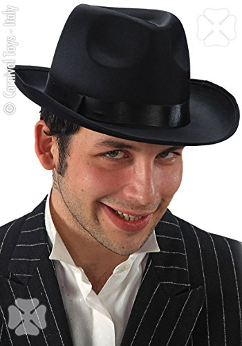 CARNIVAL TOYS S.R.L., Hat Gangster en Satin Noir de 58 cm