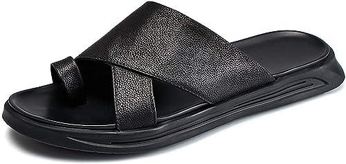 MYXUAA Tongs pour hommes Tongs Pantoufles Légères Sandales Mules Chaussures de Plage Plein Air Chaussure de Douche Noir