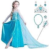 YOSICIL Niña Princesa Disfraz Frozen Elsa con Accesorios 5PC Corona Varita Vestido de Princesa Traje de Frozen con Capa Larga Costume de Cumpleaños Traje Parte de Navidad Infantil 3-9años