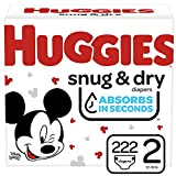 Huggies Snug & Dry Baby Diapers, Size 2, 222 Ct, One Month Supply
