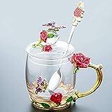 BLB Emaille-Kaffeetasse Stiefmütterchen transparent bleifrei Glas mit Stahllöffel Set Teetasse Freunde Geburtstag Mutter Valentinstag Hochzeit Geschenk rot