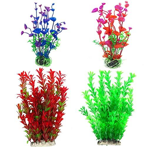 (Höhe:24cm+20cm) 4Pcs Künstliche Aquarium Pflanzen Kunststoff Aquariumpflanze Plastikpflanzen Wasserpflanzen Kunststoffpflanzen für Aquarium Fisch Tank Deko Ornament