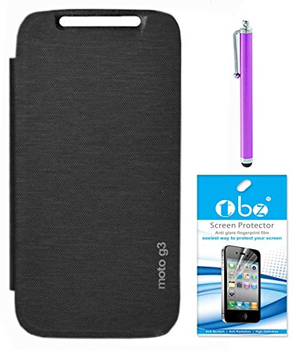 RRTBZ Flip Cover Case for Motorola Moto G 3rd Generation with Screen Guard and Stylus -Black