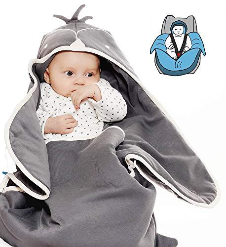 Wallaboo Einschlagdecke Universal für Babyschale, Autokindersitz, für Kinderwagen, Buggy, Babybett, Schönen Blumenform, Baumwolle, 90 x 70 cm, 0 - 12 Monaten, Farbe: Grau