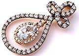 LeVian Aquamarine Chocolate and White Diamonds 1.52 cttw Pendant Necklace 14k Rose Gold NEW