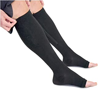 Zippered Medical Compression Socks with Zipper Safe Protection & Open Toe (Sizes Med to Wide 6XL) Support Stockings for Men and Women (L Calf 10-13 inch Black)