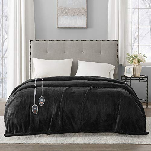 Beautyrest Plush Elect Electric Blanket with 20 Heat Level Setting Controllers equip with Secure Comfort Technology and 10 Hours Auto Shut Off, King, Black