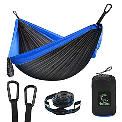 Camping Hammock Double & Single Portable Hammock with Tree Straps, Lightweight Nylon Parachute Hammocks Camping Accessories Gear for Indoor Outdoor Backpacking, Travel, Hiking, Beach