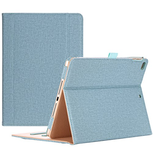 ProHülle Leder Hülle mit Stifthalter für iPad 9.7 Zoll 2018/2017 (6th 5th Gen), iPad Air 2, iPad Air Schutzhülle Hülle PU-Leder Klapphülle mit Multi- Stand für iPad 9.7 Zoll -Knickente