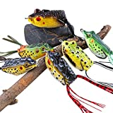 Sougayilang Hollow Frog Fishing Lures Soft Topwater Baits with Tackle Box for Bass Snakehead Saltwater Freshwater Fishing (6Pcs Frog Lure Only)
