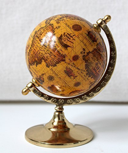 Globus auf Messingfuss, Höhe 14cm Antik-Dekoration