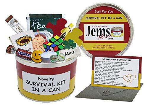 Kit de supervivencia en lata para aniversario,un regalo divertido, para aniversario de pareja o aniversario de boda, regalo y tarjeta todo en uno,para padres, amigos, abuelos, personalizable