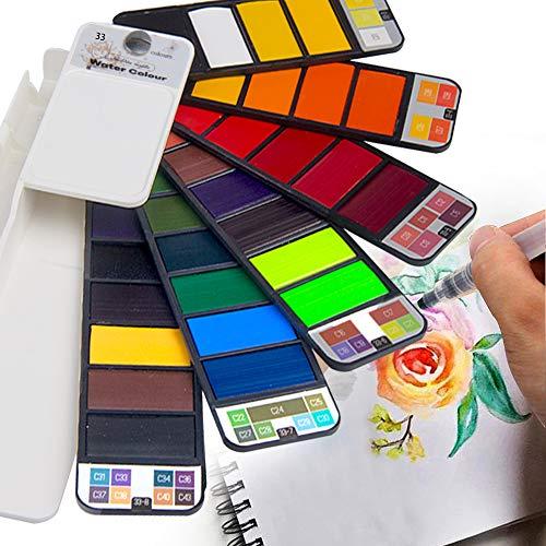 Fuumuui Acuarela de Arce Dorado, Juego de Pintura de Bolsillo de Viaje, Juego de Pintura portátil de Acuarela sólida con lápices de Acuarela, Ideal para Profesionales y Principiantes - 33 Colores