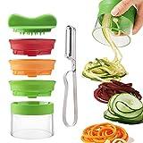 QICI - Cortador de verduras en espiral, espiralizador creativo, cortador de mano con 3 cuchillas, cortador de verduras y pelador