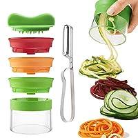 qici affetta verdure affettatrice a spirale spiralizzatore spiralizer creativo taglierina mano con 3 lame, affettaverdura verdure pelatrice (1)
