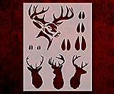 Hunting Buck Head Tracks Rack Deer 8.5 x 11 Inches Custom Stencil FAST (94)