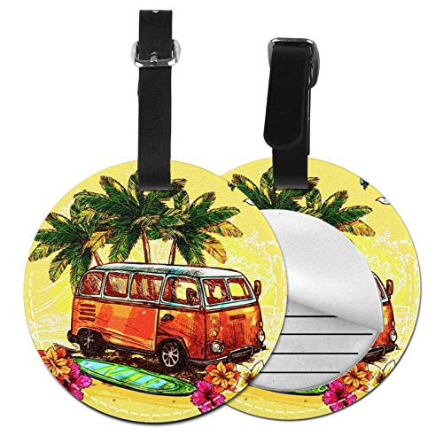 Luggage Tags Hippie Surf Hippy Bus Surfboard Suitcase Luggage Tags Business Card Holder Travel Id Bag Tag