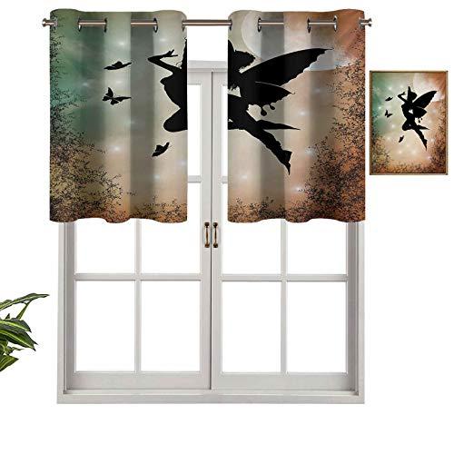 Hiiiman Cenefa con ojales en la parte superior, diseño de hada negra con alas de ángel, mariposas y sol como atractivo, juego de 1, 91,4 x 45,7 cm para cocina, baño, curtianos para cafetería