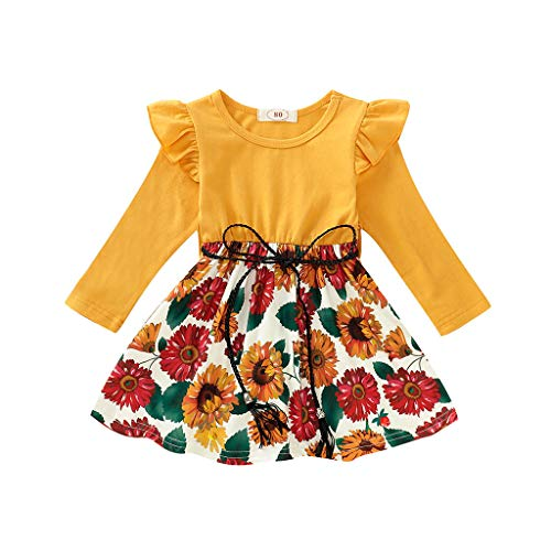 Toddler Baby Girls Clothes Floral Dress Infant Ruffle Long Sleeve Sunflower Print Princess Skirt with Belt