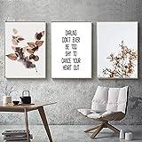 Estilo nórdico hojas de plantas lienzo pintura citas carteles de arte de pared e impresiones decoración del hogar imagen moderna sin marco-30x40cmx3