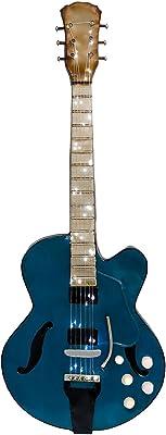 Febland Light Up Guitarra 3D Arte de Pared, Metal, Azul, 4x 37x 95cm