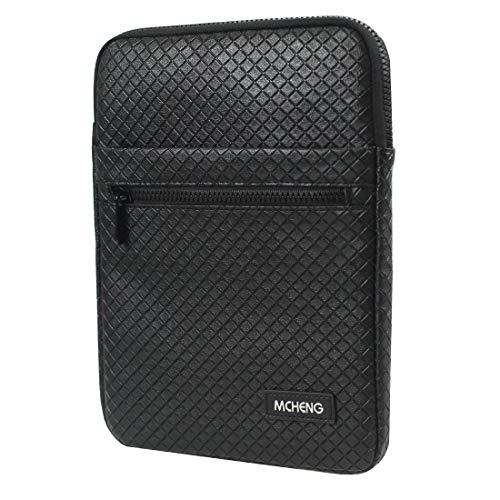 MCHENG Custodia per Tablet, Universale Borsa in PU con Manici 8 Pollici per Tablet Apple, ASUS, MemoPad, Samsung, Sony, Nokia - Nero
