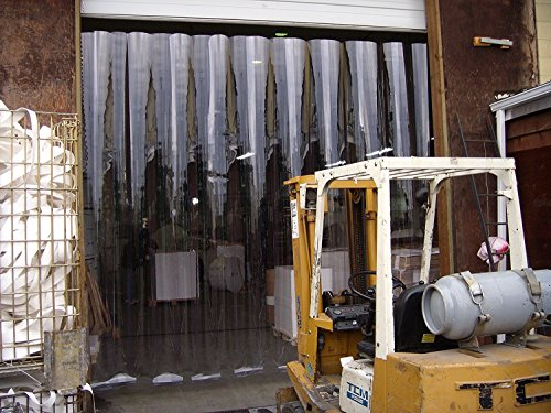 Strip-Curtains.com: Strip Door Curtain - 48 in. (4 ft) width X 96 in. (8 ft) height - Standard smooth 8 in. strips with 50% overlap - common door kit (Hardware included)
