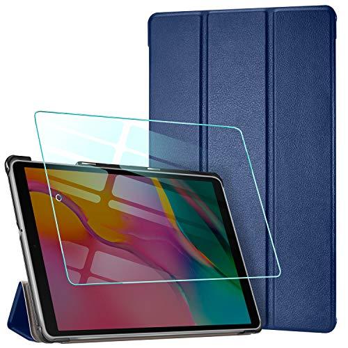 AROYI Custodia Cover Compatibile con Samsung Galaxy Tab A 10.1 2019 con Vetro Temperato, Ultra Sottile Leggero Supporto Protettiva Tablet in Pelle PU Case, Dark Blue