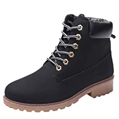 79207e460b649 Women Classic Retro Boots, NDGDA Solid Ankle Thick Lace-up Sh ..