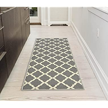 Ottomanson Glamour Collection Contemporary Moroccan Trellis Design Kids Lattice Area Rug (Non-Slip) Kitchen and Bathroom Mat Rug, 20  X 59 , Grey