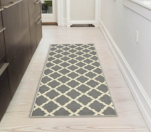 "Ottomanson Glamour Collection Contemporary Moroccan Trellis Design Kids Lattice Area Rug (Non-Slip) Kitchen and Bathroom Mat Rug, 20"" X 59"", Grey"