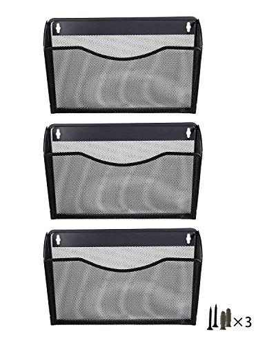 PAG 3Taschen zum Aufhängen Datei Holder Organizer Wandhalterung Metall Magazin Rack 3 Pack-Black