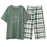 El más Nuevo Verano 100% algodón de Dibujos Animados Mujeres Pijamas Conjunto Cuello Redondo Casual Talla Grande M-5XL Pijamas Femeninos Top Corto + Pantalones Cortos