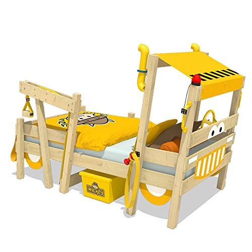 WICKEY lit pour enfant 'Crazy Sparky Max' design Pelleteuse - Lit simple en bois massif - 90x200 cm
