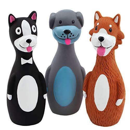 Chiwava 3 Stücks 5.7 Zoll Latex Quietsch Hundespielzeug für kleine Hunde lustige Hund Kau und Quietschend interaktives Spiel