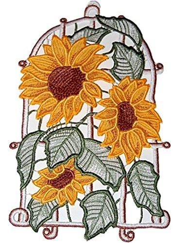 Plauener Spitze Fensterbild 16x26 cm + Saugnapf Sonnenblume Spitzenbild Fensterschmuck Fensterdekoration