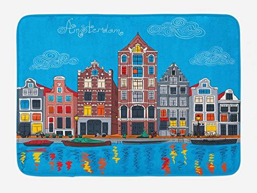 ABAKUHAUS Amsterdam Tappetino da Bagno, Canal Famous, Vasca Doccia WC Tappeto in Peluche con Supporto Antiscivolo, 45 cm x 75 cm, Multicolore